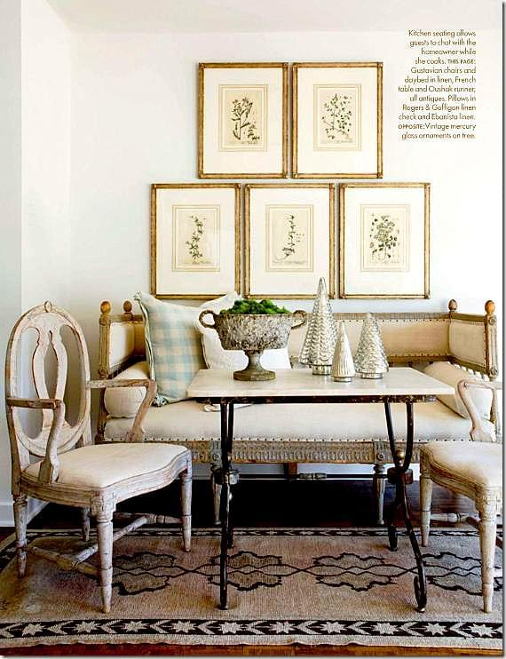 Interior Designer Lisa Luby Ryan uses antique Gustavian Chairs and a linen covered daybed with a muted antique Oushak to create this beautiful Swedish breakfast room. Picture from Nov-Dec 2010 Issue of Veranda.