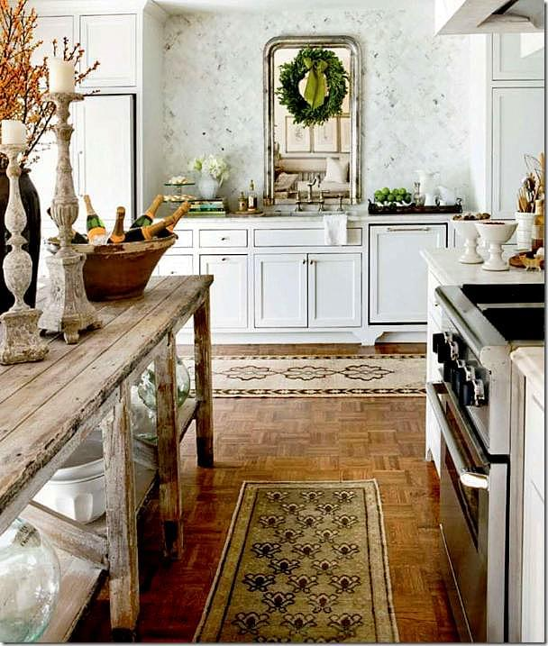 In the same house, Ryan uses Oushak runners in the kitchen. Picture from Nov-Dec 2010 Issue of Veranda.