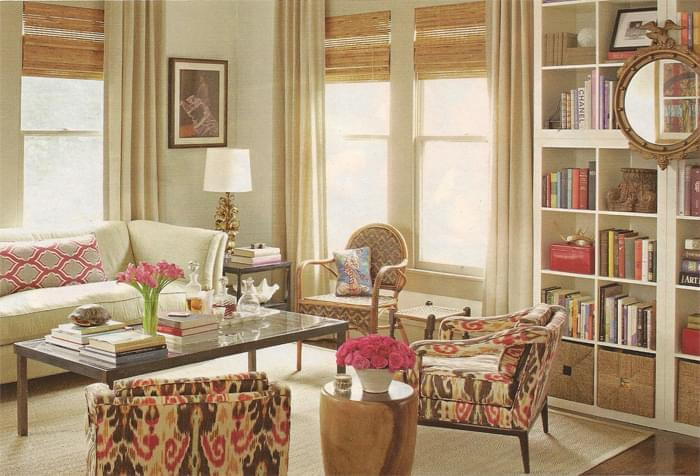 Megu0027s Beautiful Living Room. I Love The Ikat Chair Fabric  Which Is Lee Jofa