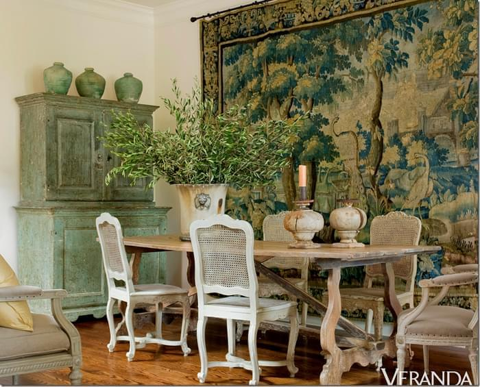 The focus of the dining room is on the exquisite 18th Century French Tapestry from Matt Camron. Jane original purchased this tapestry from Matt Camron for her old house. She opts for a pale green 18th century Swedish cupboard to compliment the tapestry