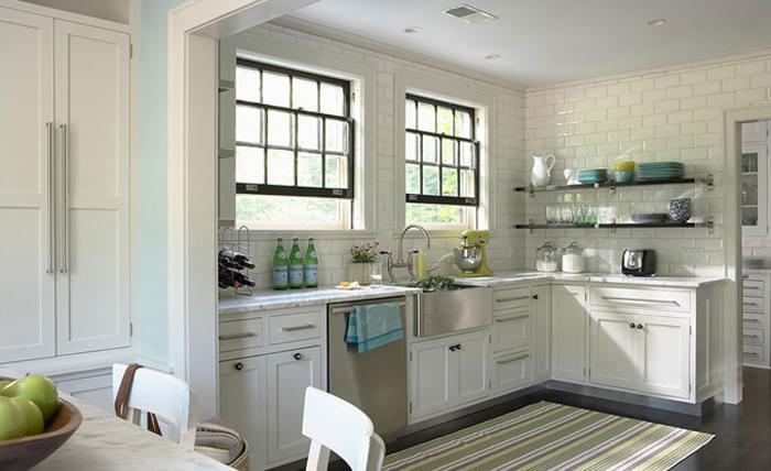 In This Kitchen, A Striped Flatweave Lines The Floor!