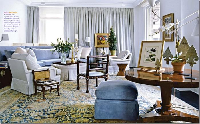Vicente Wolf uses a blue and gold antique Tabriz to create a fresh and slightly contemporary room.