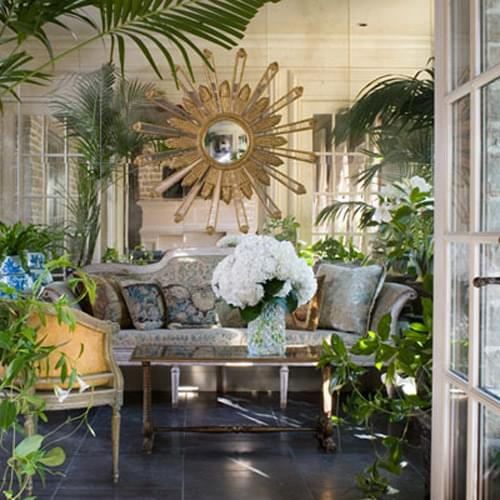 Designer, Joseph Minton used Matt Camron's Tapestry pillows in the conservatory of the Southern Accents showhouse.