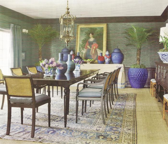 Here, designer Mary McDonald opts for Tabriz over seagrass in a dining room. Photo from the October 2010 Veranda.