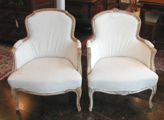 Pair of Gustavian Painted Pine Bergeres - Sweden, Early 19th Century