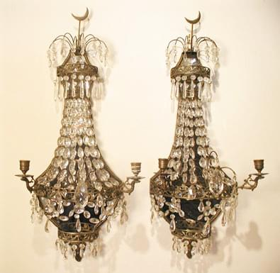 Pair of Bronze and Crystal Mirrored Sconces, circa 1860 Sweden