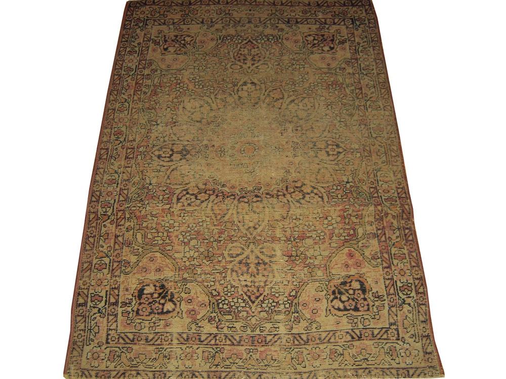 Antique Persian Worn Kerman Rug