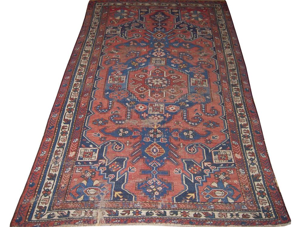 Antique Persian Worn Caucasion Rug