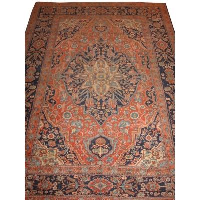 Antique Persian Kashan Mohtasham Rug
