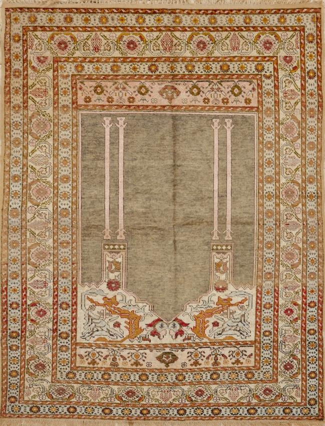 Antique Turkish Sivas Silk Rug