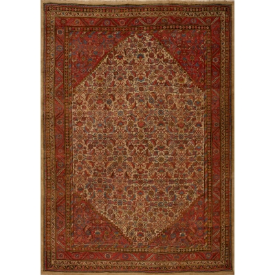 Antique Persian Worn Bakshayesh Rug