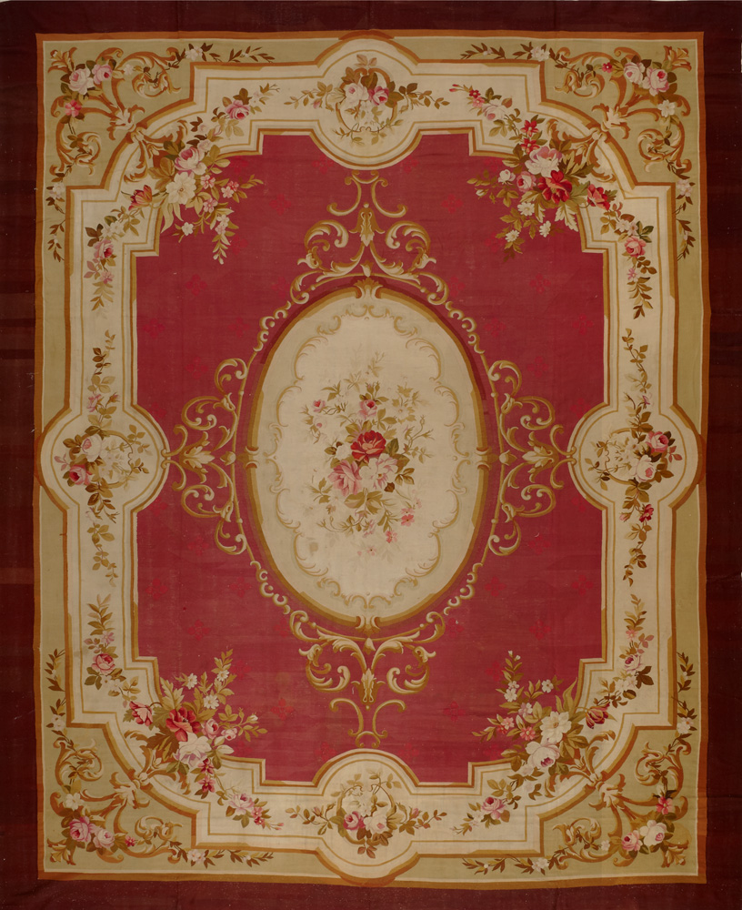 Antique European Aubusson Rug Antiques 14702hc Matt