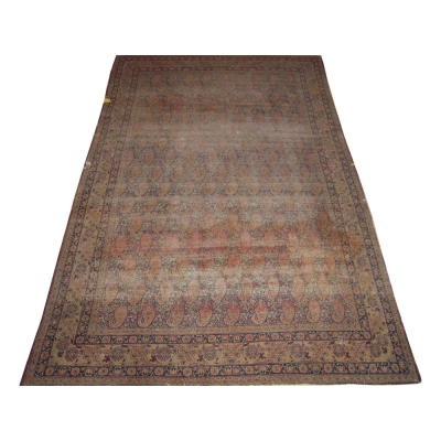 Antique  Worn Lavar Kerman Rug