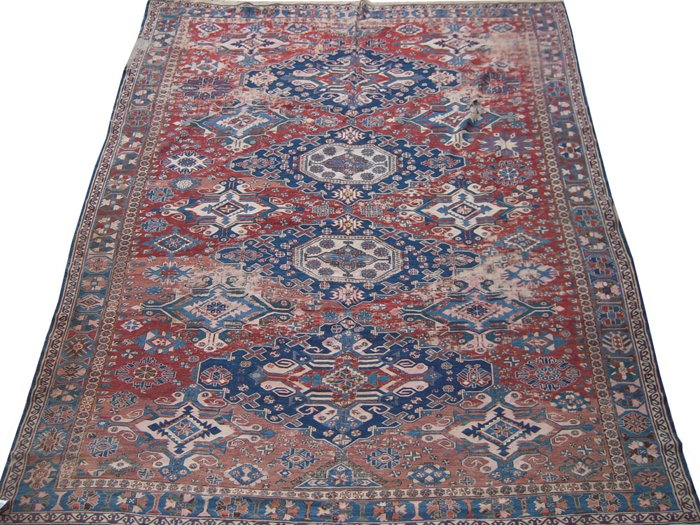 Antique  Worn Sumak Rug