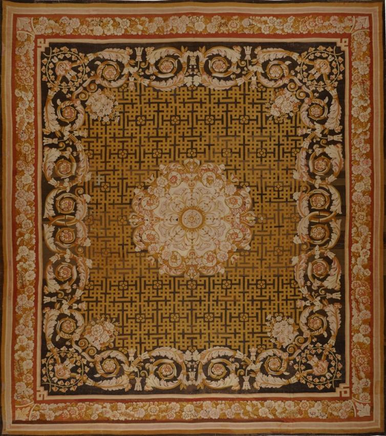 Antique European Antique Aubusson Rug