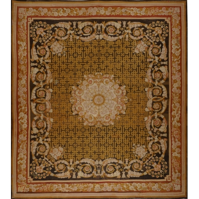 Antique European Antique Aubusson Rug