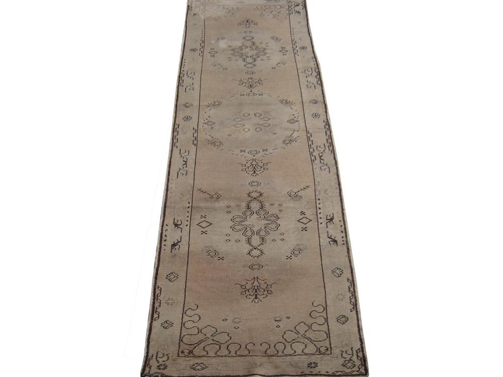 Antique Turkish Worn Oushak Rug