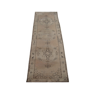 Antique Turkish Worn Oushak Rug