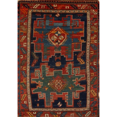 Antique  Worn Caucasion Rug