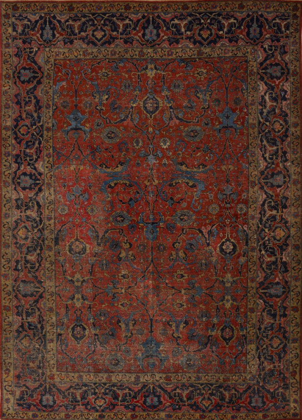 Antique  Worn Tabriz Rug