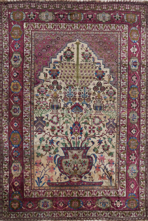Antique  Tehran Silk Rug