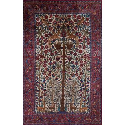 Antique  Kashan Silk Rug