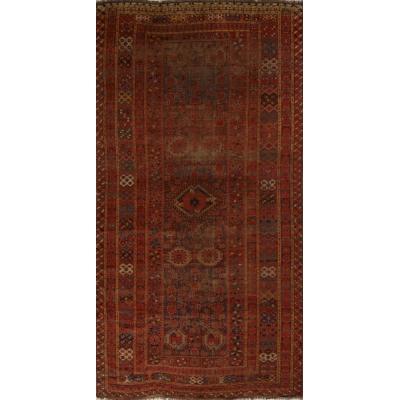 Antique Oriental Worn Beshir Rug