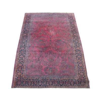 Antique Persian Worn Kashan Rug