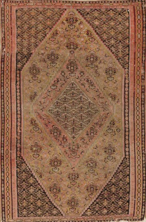 Antique Persian Worn Kilim Senneh Rug