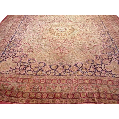 Antique Persian Worn Kerman Lavar Rug