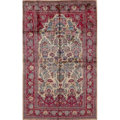 Antique Persian Silk Kashan Rug