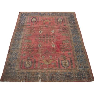 Antique Persian Worn Mahal Rug