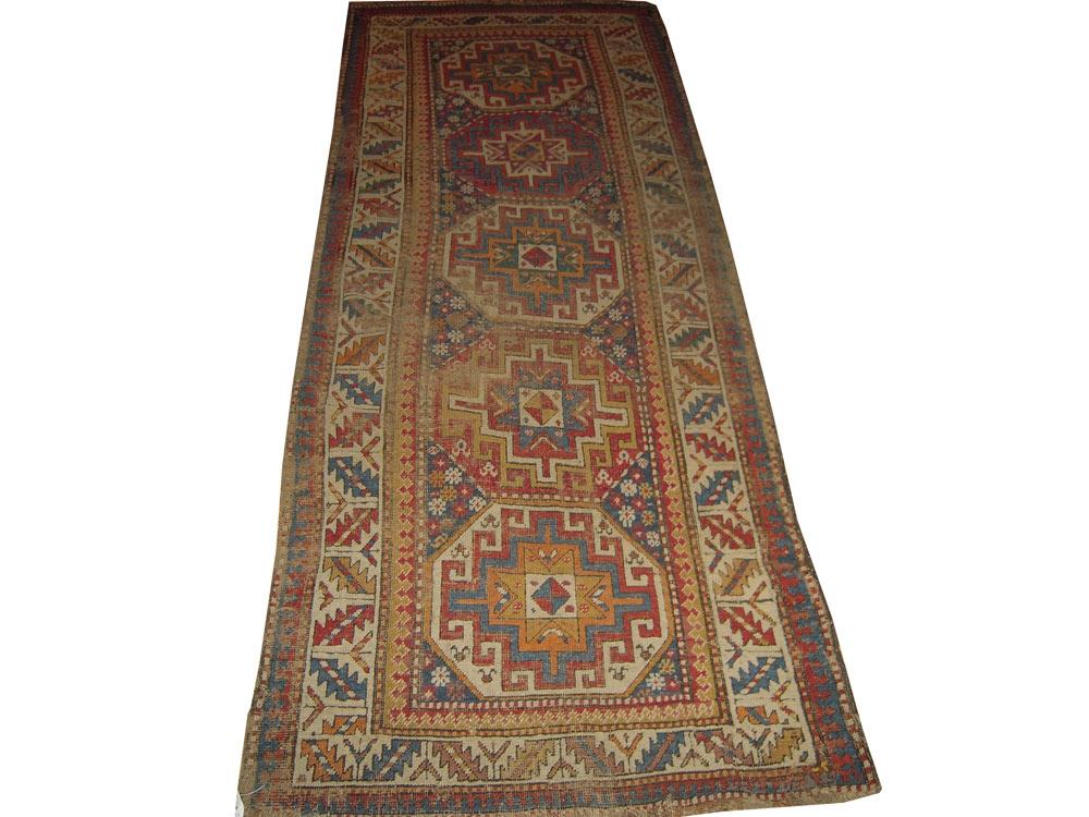 Antique Oriental Worn Caucasion Rug