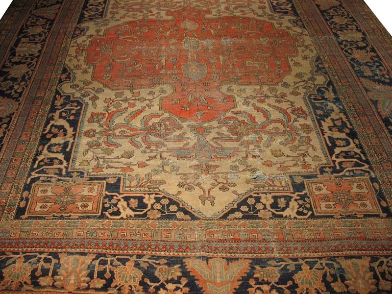 Antique Persian Worn Farahan Sarouk Rug