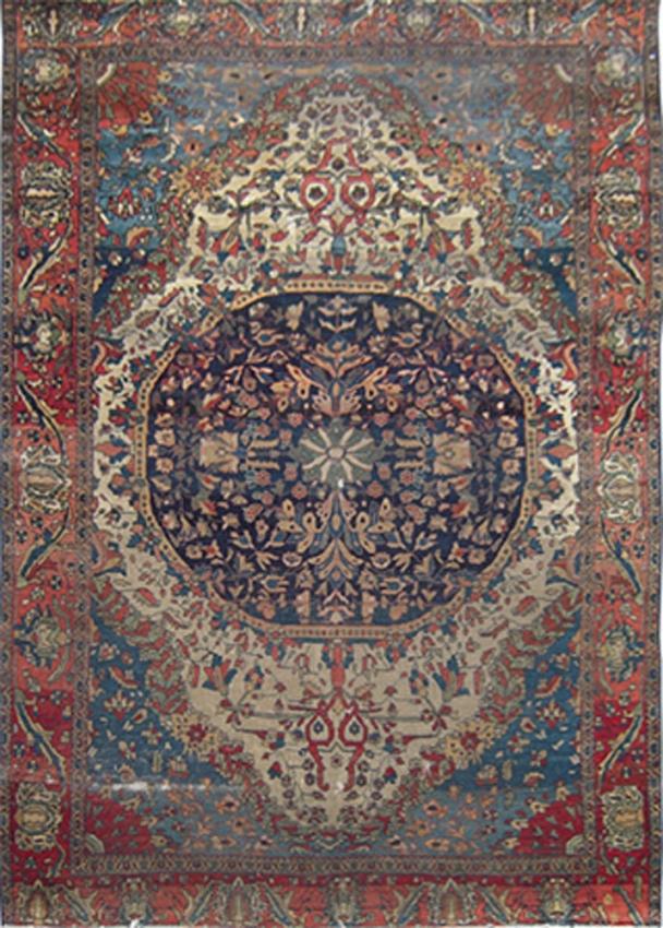 Antique Persian Worn Mohtasham Rug