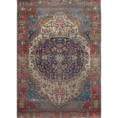 Antique Persian Worn Mohtasham Rug