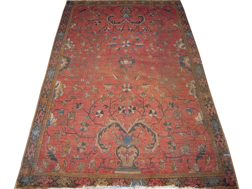 Antique Oriental Worn Sarouk Rug