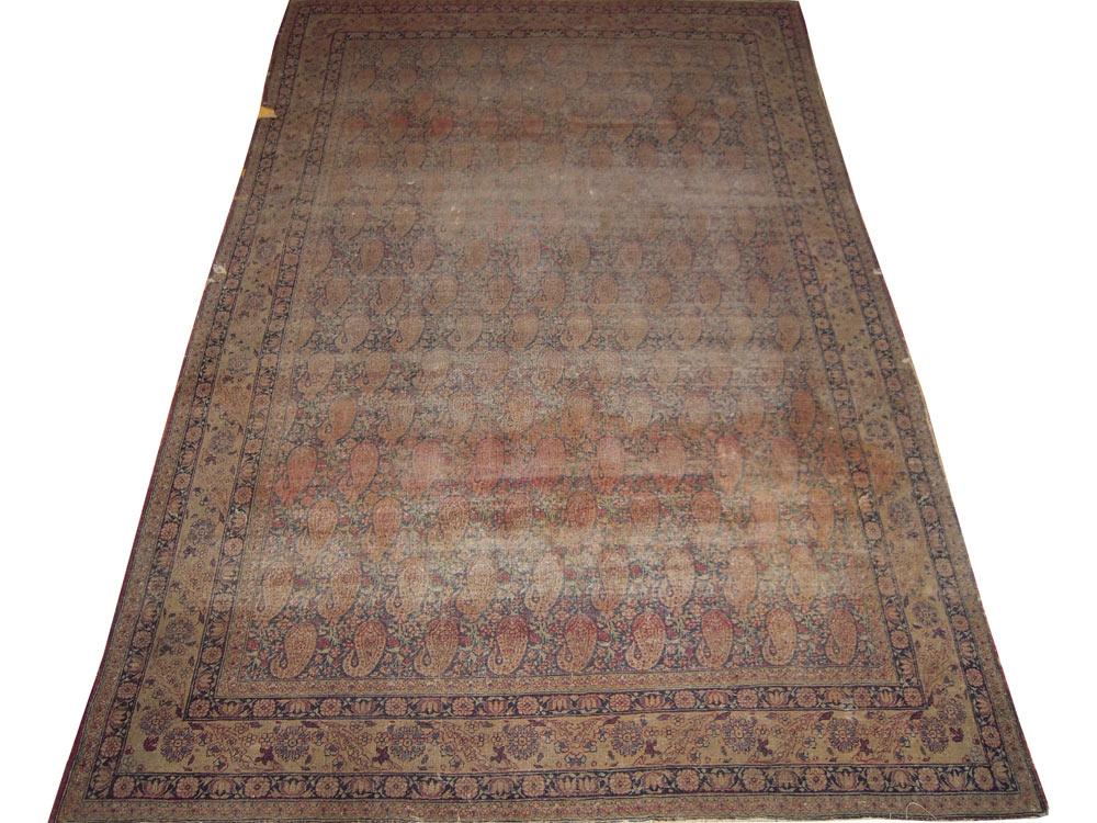 Antique  Worn Lavar Kerman Rug