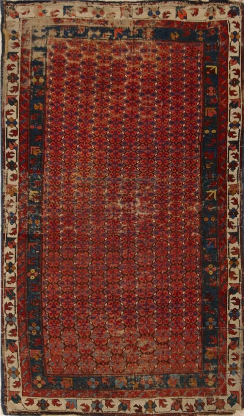 Antique  Worn Caucasion Rug