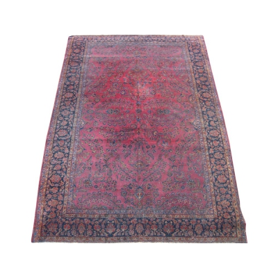 Antique Persian Worn Kashan Rug
