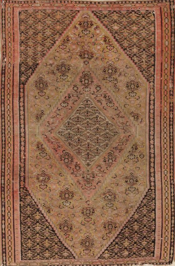 Antique Persian Worn Kilim Senneh Rug