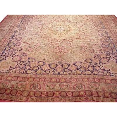 Antique Persian Worn Kerman Lavar Rug